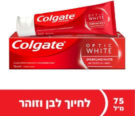 קולגייט אופטיק וייט משחת שיניים ספרקלינג וייט למראה שיניים לבנות יותר