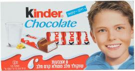 קינדר אצבעות שוקולד חלב ממולא קרם חלב