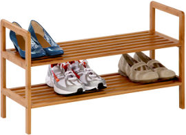 Honey Can Do מתקן 2 קומות במבוק לנעליים
