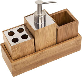 Honey Can Do מתקן במבוק לסבון ,משחת שיניים ומברשות