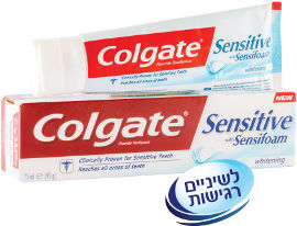 קולגייט סנסיטיב+הלבנה משחת שיניים