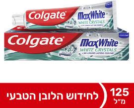 קולגייט משחת שיניים מקס ווייט עם קריסטלים לבנים לנשימה רעננה