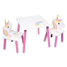 Disney שולחן עץ חד קרן + 2 כיסאות