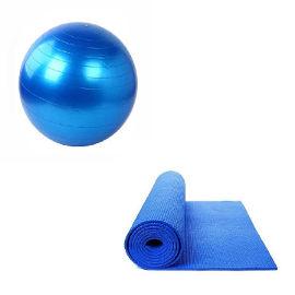YKI סט אימון - כדור פיזיו עם מזרן יוגה והתעמלות